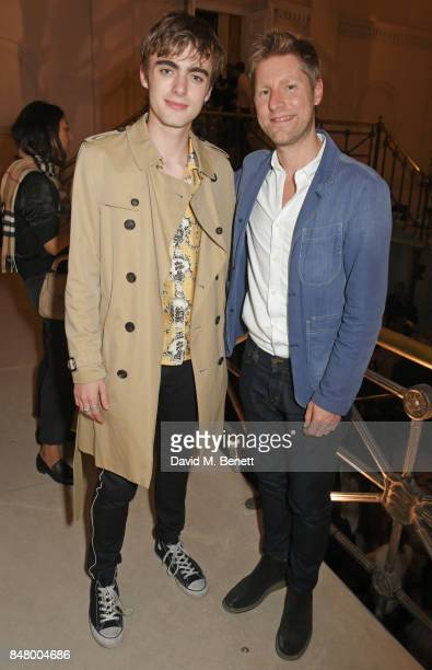 Lennon Gallagher and Christopher Bailey wearing Burberry at the Burberry September 2017 at London Fashion Week at The Old Sessions House on September...