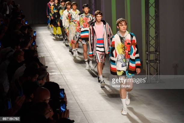 Lennon Gallagher and models walk the runway at the MSGM show during Milan Men's Fashion Week Spring/Summer 2018 on June 18 2017 in Milan Italy