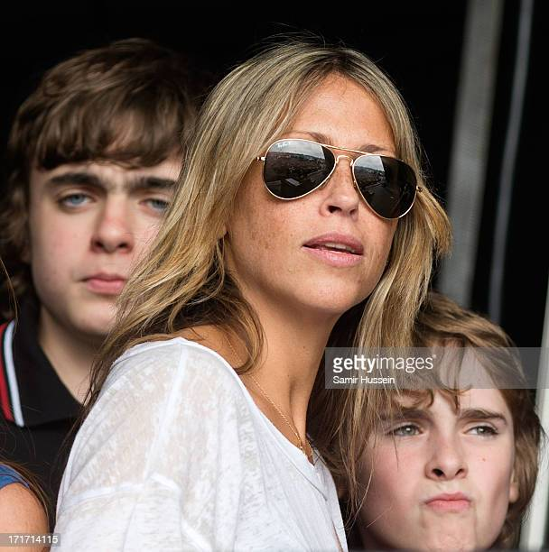 Lennon Gallagher Nicole Appleton and Gene Gallagher watch Beady Eye perform Glastonbury Festival of Contemporary Performing Arts at Worthy Farm...