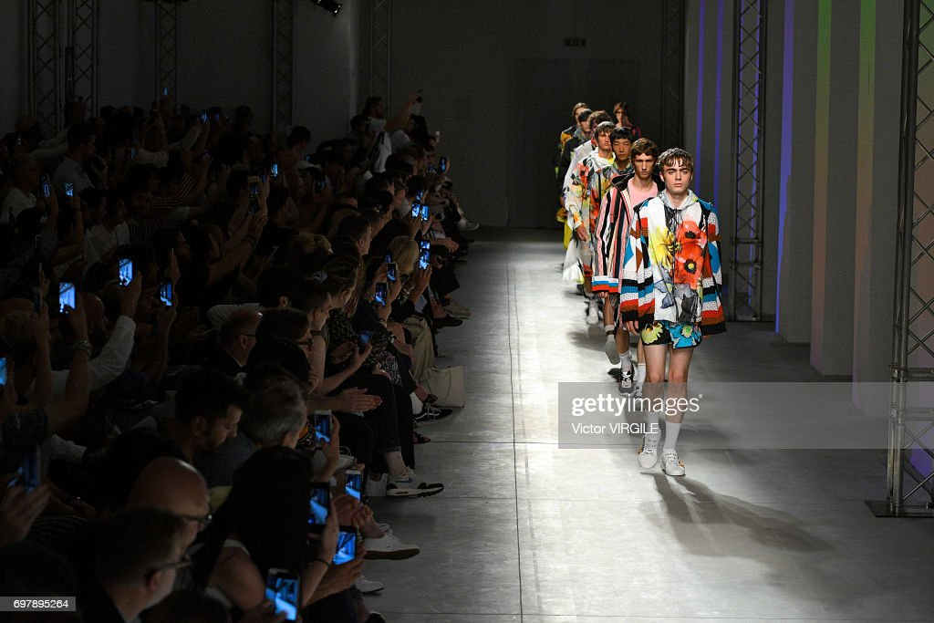 Lennon Gallagher walks the runway at the MSGM show during Milan Men's Fashion Week Spring/Summer 2018 on June 18, 2017 in Milan, Italy.