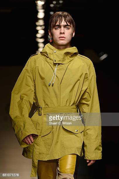 Lennon Gallagher walks the runway at the TOPMAN DESIGN show during London Fashion Week Men's January 2017 collections at Topman Show Space on January...