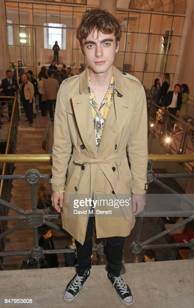 Lennon Gallagher wearing Burberry at the Burberry September 2017 at London Fashion Week at The Old Sessions House on September 16 2017 in London...