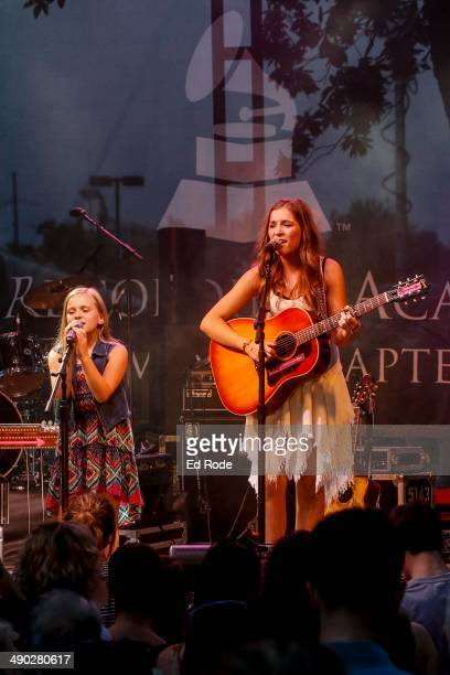 Lennon Ray Stella and Maisy Jude Stella perform at the 2014 Grammy Block Party at Owen Bradley Park on May 13 2014 in Nashville Tennessee