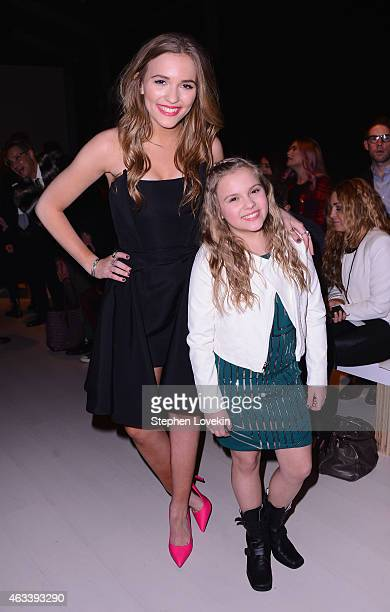 Lennon Stella and Maisy Stella attend the August Getty fashion show during MercedesBenz Fashion Week Fall 2015 at The Salon at Lincoln Center on...