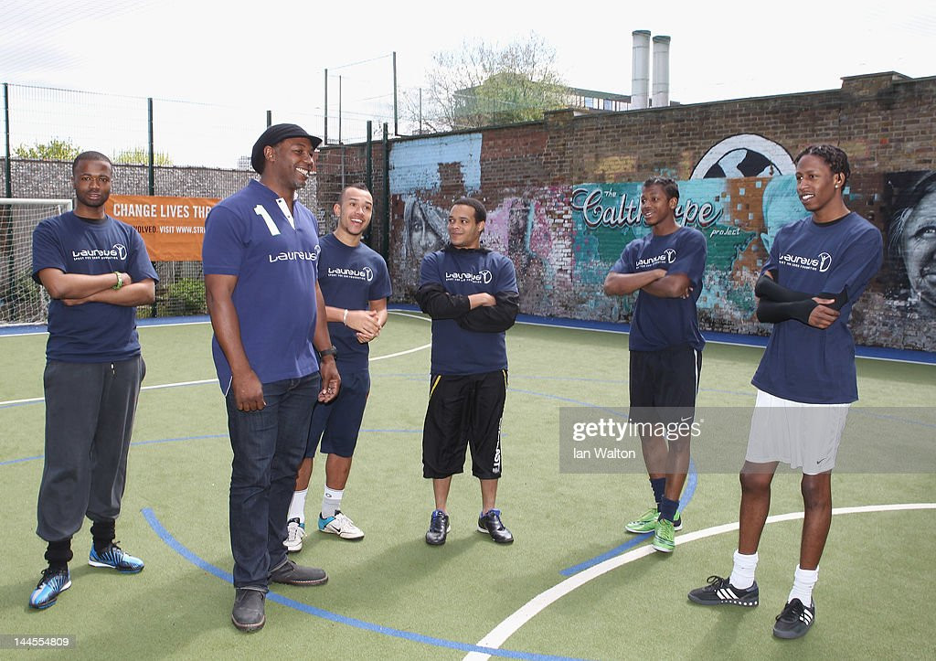 Lennox Lewis during a visit to a Laureus Street League project at the Calthorpe Project on May 16, 2012 in London, England. As a follow up to the 2012 Laureus World Sport Awards in London the decision was taken to follow up with guests and invite them to take part in Foundation events and visit projects. This is particularly with the view of developing more Academy Members and Ambassadors. This will be the first time that Laureus has visited Street League since funding started in 2009.
