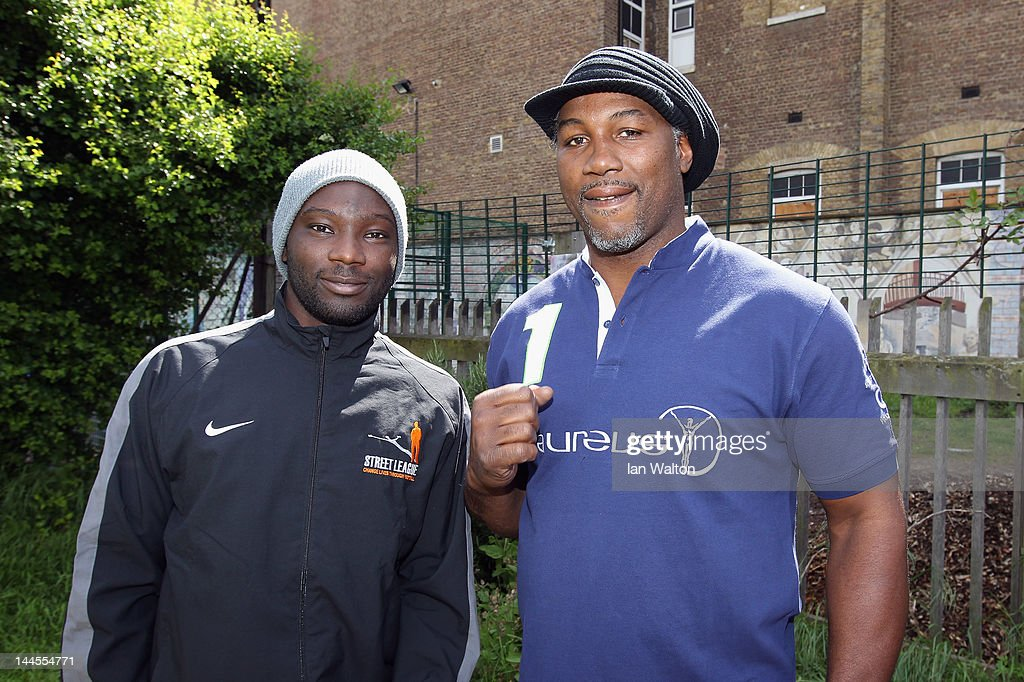 Lennox Lewis speaks to the media during a visit to a Laureus Street League project at the Calthorpe Project on May 16, 2012 in London, England. As a follow up to the 2012 Laureus World Sport Awards in London the decision was taken to follow up with guests and invite them to take part in Foundation events and visit projects. This is particularly with the view of developing more Academy Members and Ambassadors. This will be the first time that Laureus has visited Street League since funding started in 2009.