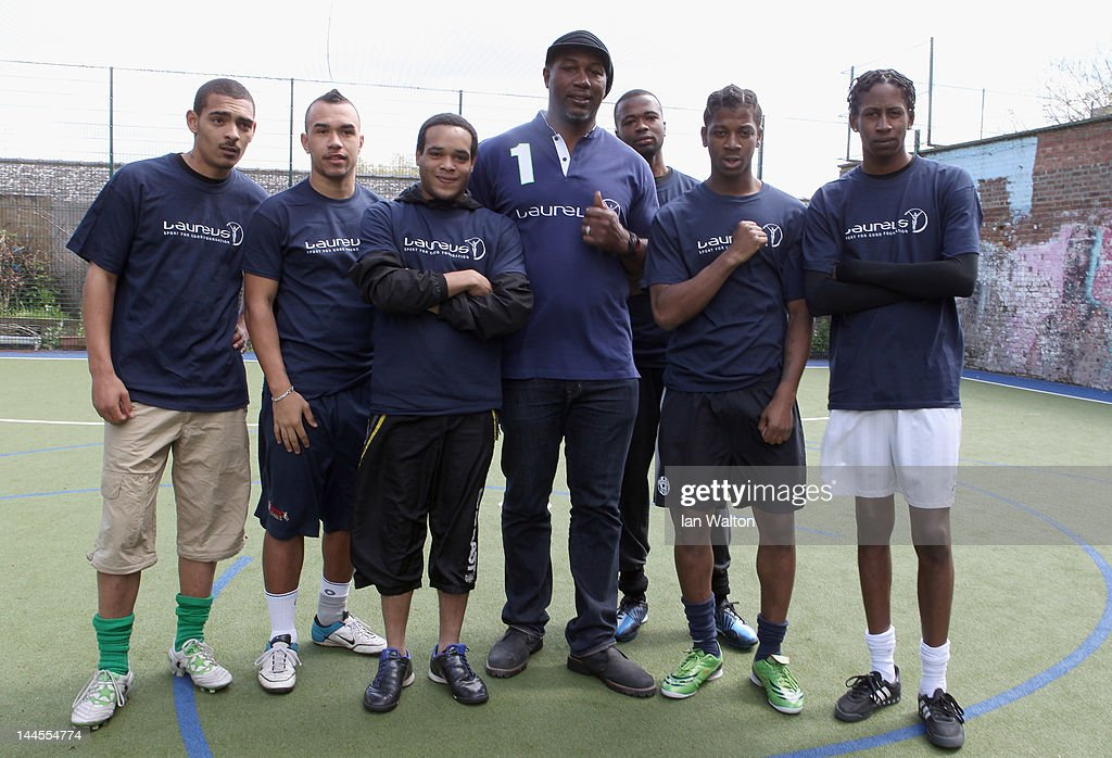 Lennox Lewis takes part in a five a side game of football during a visit to a Laureus Street League project at the Calthorpe Project on May 16, 2012 in London, England. As a follow up to the 2012 Laureus World Sport Awards in London the decision was taken to follow up with guests and invite them to take part in Foundation events and visit projects. This is particularly with the view of developing more Academy Members and Ambassadors. This will be the first time that Laureus has visited Street League since funding started in 2009.