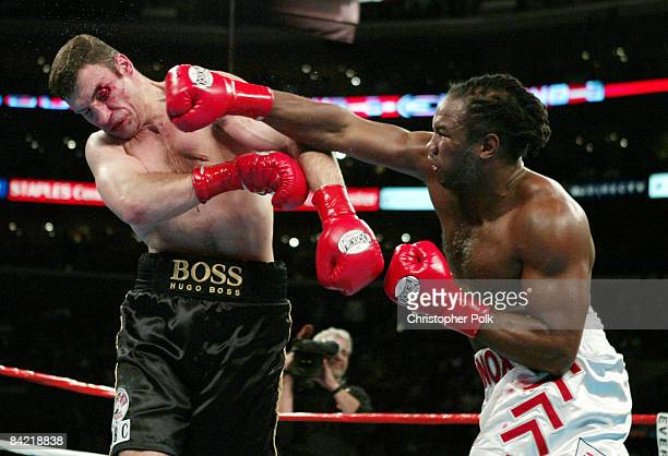Lennox Lewis white trunks and Vitali Klitschko black trunks fight during an12 round WBC/IBO Heavyweight Championship held at the Staples Center in...