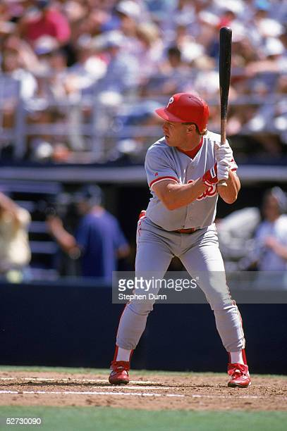 Lenny Dykstra of the Philadelphia Phillies readies for the pitch during an MLB game on April 29 1993 against the San Diego Padres at Qualcomm Stadium...