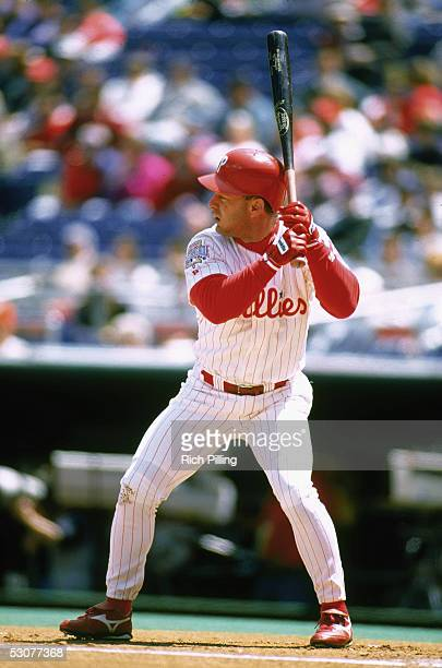Lenny Dykstra of the Philadelphia Phillies stands at bat during a game Lenny Dykstra played for the Philadelphia Phillies from 19891996