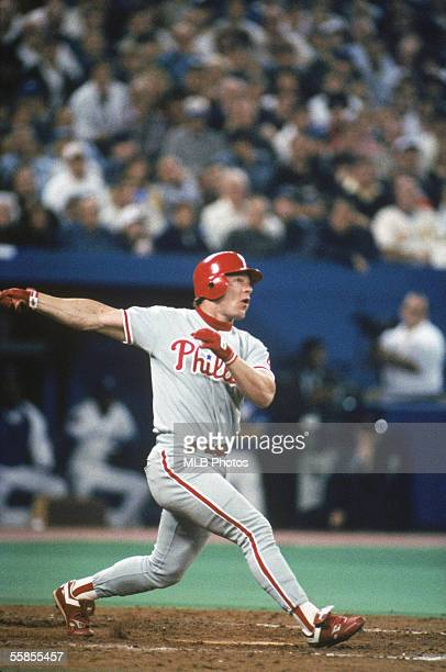 Lenny Dykstra of the Philadelphia Phillies swings at the pitch during game six of the 1993 World Series against the Toronto Blue Jays at the Skydome...
