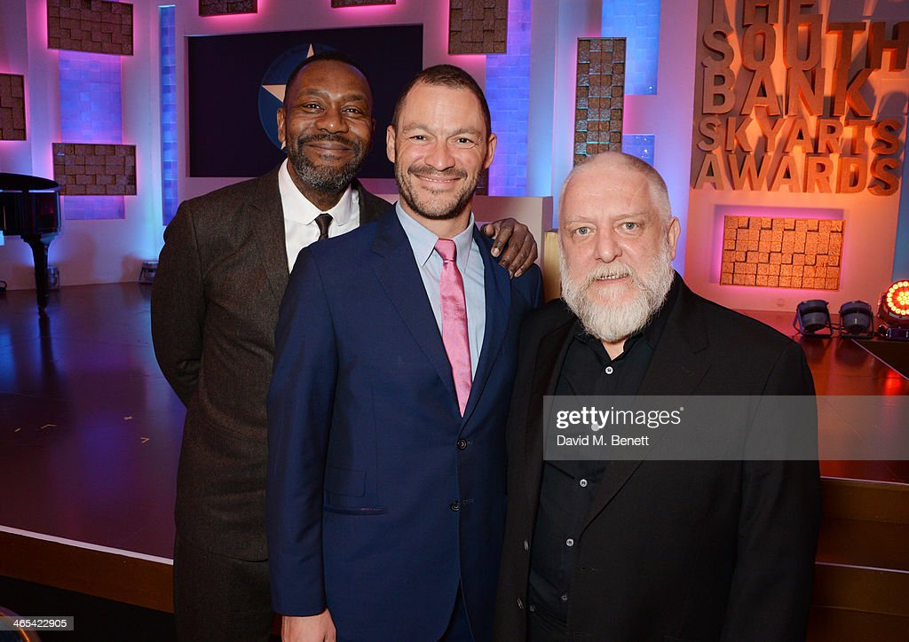 Lenny Henry, Dominic West and Simon Russell Beale attend a drinks reception at the South Bank Sky Arts awards at the Dorchester Hotel on January 27, 2014 in London, England.