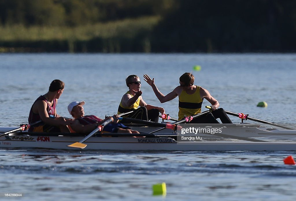 Lenny Jenkins (L) and Matthew Butler of Whakatane High celebrate after winning the boys U15 double sculls final during day five of the Maadi Cup at Lake Karapiro on March 22, 2013 in Cambridge, New Zealand.