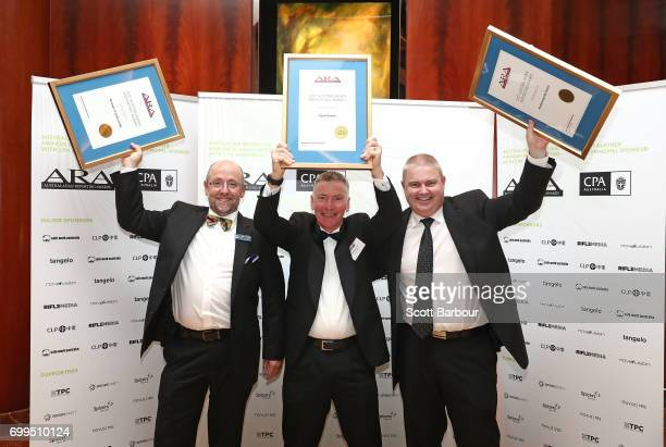 Lenny Jenner of the Borough of Queenscliffe and Brendan Dowd of the City of Darwin pose with their awards during the 2017 Australasian Reporting...