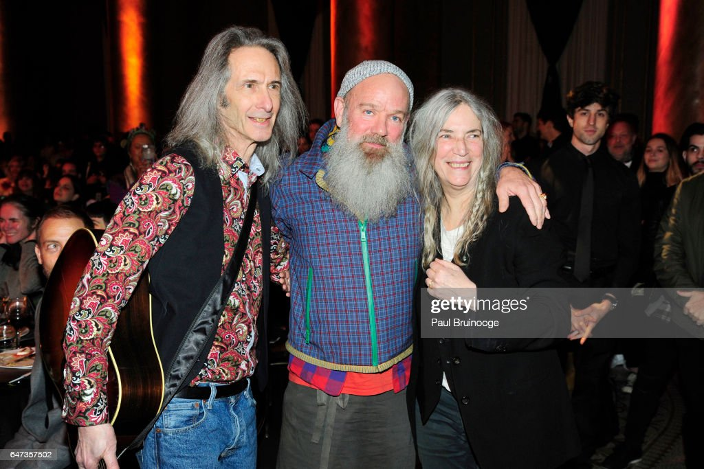 Lenny Kaye, Michael Stipe and Patti Smith attend The Anthology Film Archives Benefit and Auction at Capitale on March 2, 2017 in New York City.