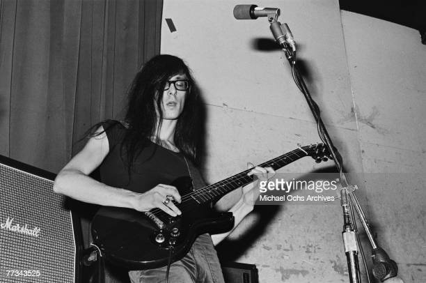 Lenny Kaye of the Patti Smith Group performs in November 1974 at the Whisky a Go Go in Los Angeles California