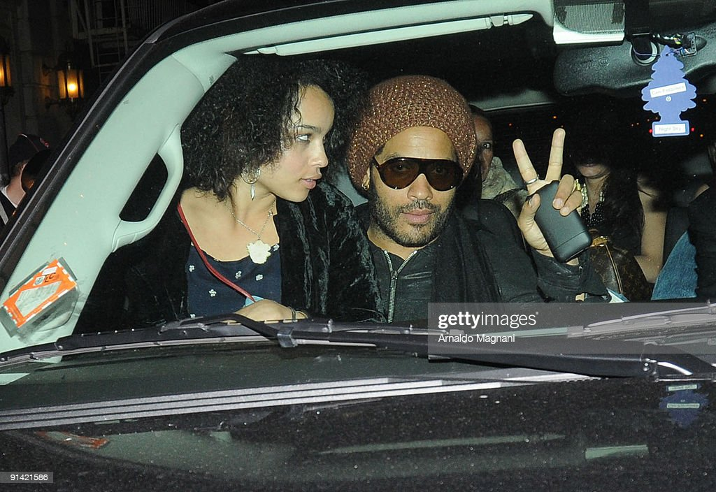 Lenny Kravitz and daughter Zoe depart at the premiere of 'Precious' October 3, 2009 at Lincoln Center in New York City.