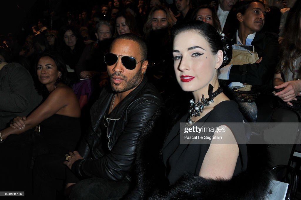 Lenny Kravitz and Dita Von Teese arrive for the Lanvin Ready to Wear Spring/Summer 2011 show during Paris Fashion Week at Halle Freyssinet on October 1, 2010 in Paris, France.