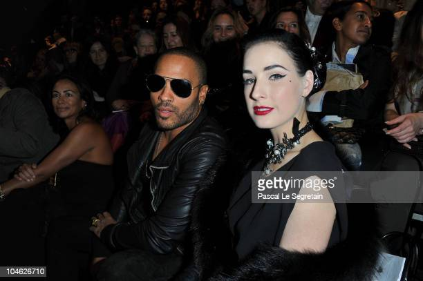 Lenny Kravitz and Dita Von Teese arrive for the Lanvin Ready to Wear Spring/Summer 2011 show during Paris Fashion Week at Halle Freyssinet on October...