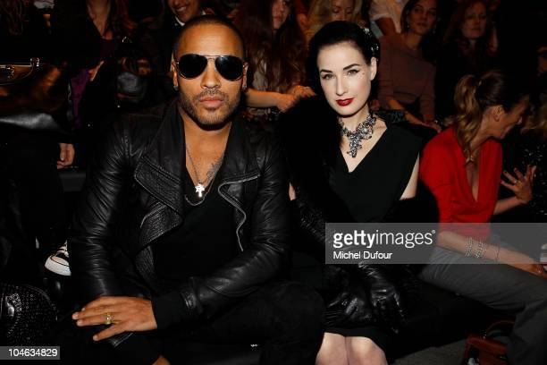 Lenny Kravitz and Dita von Teese attend the Lanvin Ready to Wear Spring/Summer 2011 show during Paris Fashion Week at Halle Freyssinet on October 1...