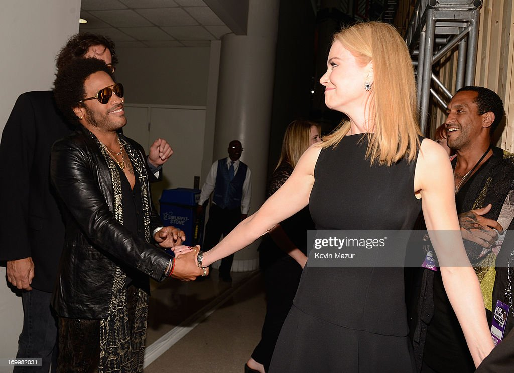 Lenny Kravitz (L) and Nicole Kidman attend the 2013 CMT Music awards at the Bridgestone Arena on June 5, 2013 in Nashville, Tennessee.