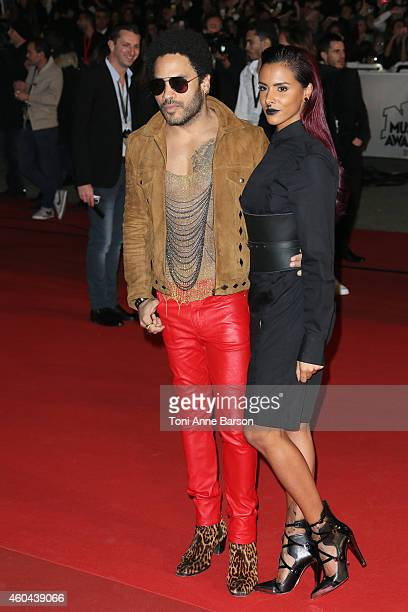 Lenny Kravitz and Shy'm arrive at the 16th NRJ Music Awards at the Palais des Festivals on December 13 2014 in Cannes France