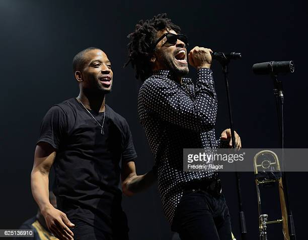 Lenny Kravitz and Troy Andrews on stage during Trombone Shorty Orleans Avenue performance at Salle Pleyel in Paris on November 20 2016 in Paris France