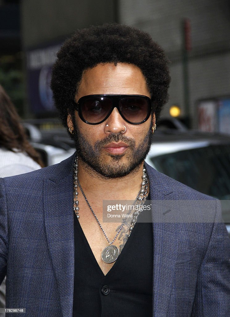 <a gi-track='captionPersonalityLinkClicked' href=/galleries/search?phrase=Lenny+Kravitz&family=editorial&specificpeople=171613 ng-click='$event.stopPropagation()'>Lenny Kravitz</a> arrives for the 'Late Show with David Letterman' at Ed Sullivan Theater on August 28, 2013 in New York City.