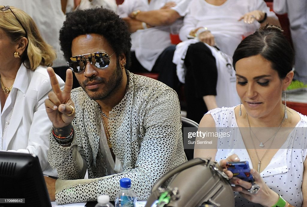 Lenny Kravitz at Game 7 of the NBA Finals with the Miami Heat taking on the San Antonio Spurs at the AmericanAirlines Arena in Miami, Florida, on Thursday, June 20, 2013.