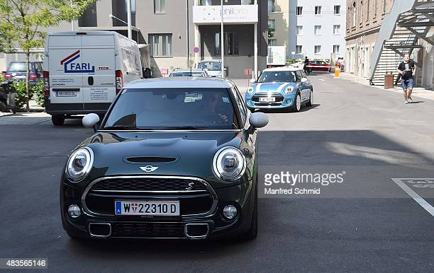 Lenny Kravitz in a Mini car arrives to the press conference for Flash by Lenny Kravitz exhibition at Ostlicht Gallery on August 10 2015 in Vienna...