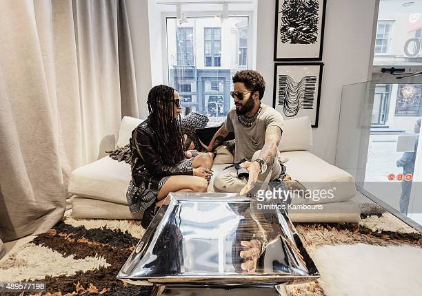 Lenny Kravitz is seen with his daughter Zoe Kravitz as he celebrates the launch of CB2 x Kravitz Design by Lenny Kravitz at the CB2 Soho store on...