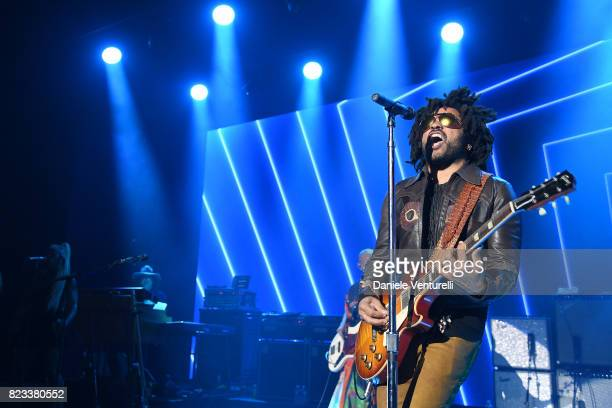 Lenny Kravitz performs on stage during the Leonardo DiCaprio Foundation 4th Annual SaintTropez Gala at Domaine Bertaud Belieu on July 26 2017 in...