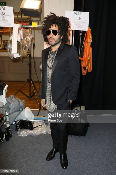 Lenny Kravitz poses backstage at the Off/White show as part of the Paris Fashion Week Womenswear Spring/Summer 2018 on September 28 2017 in Paris...