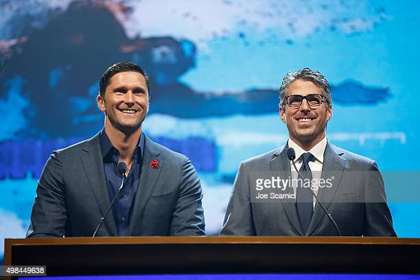 Lenny Krayzelburg and Casey Wasserman speak on stage during the 2015 USA Swimming Golden Goggle Awards at JW Marriot at LA Live on November 22 2015...