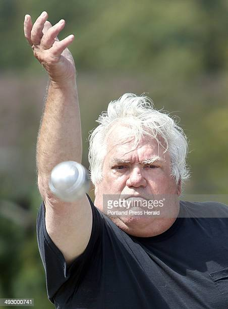 Lenny Lones of Arundel tosses a boule during the Old Orchard Beach Petanque Club's petanque tournament at Memorial Park in Old Orchard Beach on...