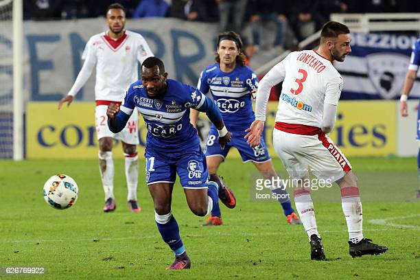 lenny nangis of bastia and contento diego of bordeaux during the Ligue 1 match between SC Bastia and FC Girondins de Bordeaux at Stade Armand Cesari...