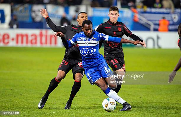 Lenny Nangis of Bastia and Henrique Arnaud Souquet of Nice during the French Ligue 1 match between Bastia and Nice at Stade Armand Cesari on January...