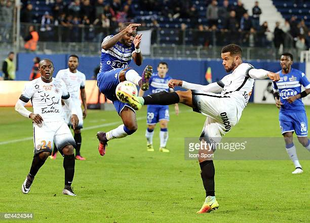 Lenny Nangis of bastia and Skhiri Ellyes of montpellier during the Ligue 1 match between SC Bastia and Montpellier Herault SC at Stade Armand Cesari...
