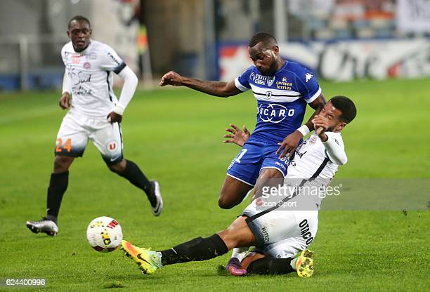 Lenny Nangis of bastia during the Ligue 1 match between SC Bastia and Montpellier Herault SC at Stade Armand Cesari on November 19 2016 in Bastia...