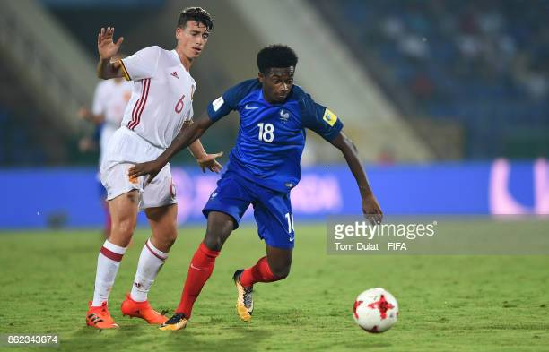 Lenny Pintor of France and Antonio Blanco of Spain in action during the FIFA U17 World Cup India 2017 Round of 16 match between France and Spain at...