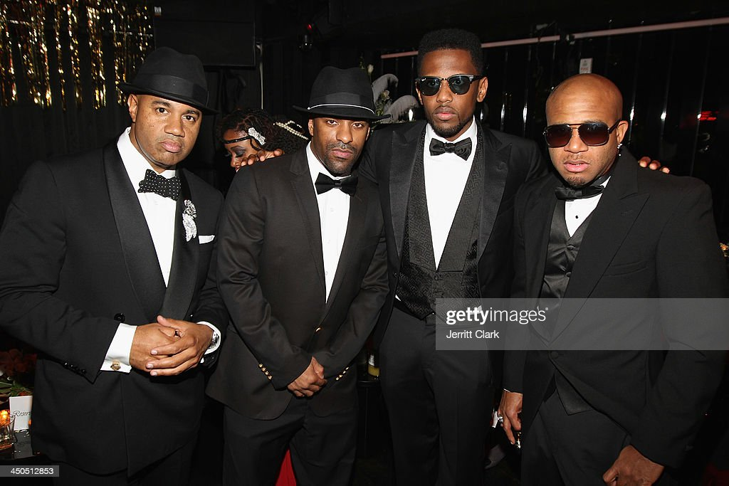 Lenny S DJ Clue Fabolous and Red Cafe attend Fabolous' The Great Fabsby Birthday Celebration at Jazz Room at the General on November 18 2013 in New...