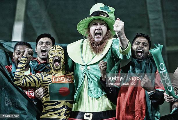Lenny the leprechaun mixes with Bangladesh supporters during the ICC World Twenty20 India 2016 match between Bangladesh and Ireland at the HPCA...