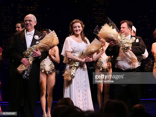 Lenny Wolpe Betsy Wolfe and Brooks Ashmanskas during the Broadway Opening Night Performance Curtain Call for ''Bullets Over Broadway'' at the St...