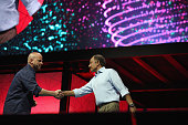 Lenovo EVP Data Center Group President Gerry Smith and Juniper Founder CTO and Vice Chairman of the Board of Directors Pradeep Sindhu present onstage...