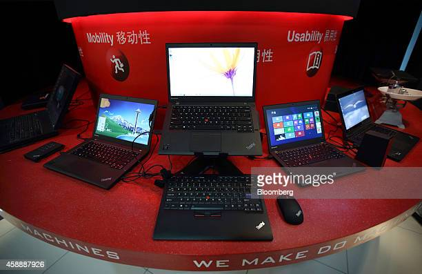 Lenovo Group Ltd laptop computers sit on display at the company's headquarters in Beijing China on Tuesday Nov 11 2014 Lenovo Chief Executive Officer...