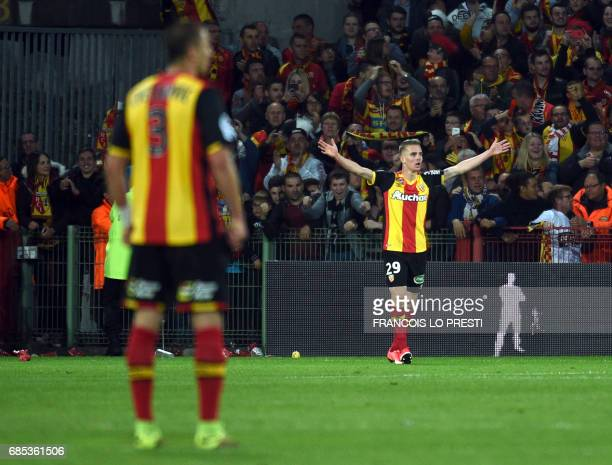 Lens' Benjamin Bourigeaud celebrates after scoring a goal during the French L2 football match between Lens and Niort on May 19 2017 at the...