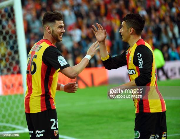 Lens Christian Lopez Santamaria celebrates after scoring a goal during the French L2 football match between Lens and Niort on May 19 2017 at the...