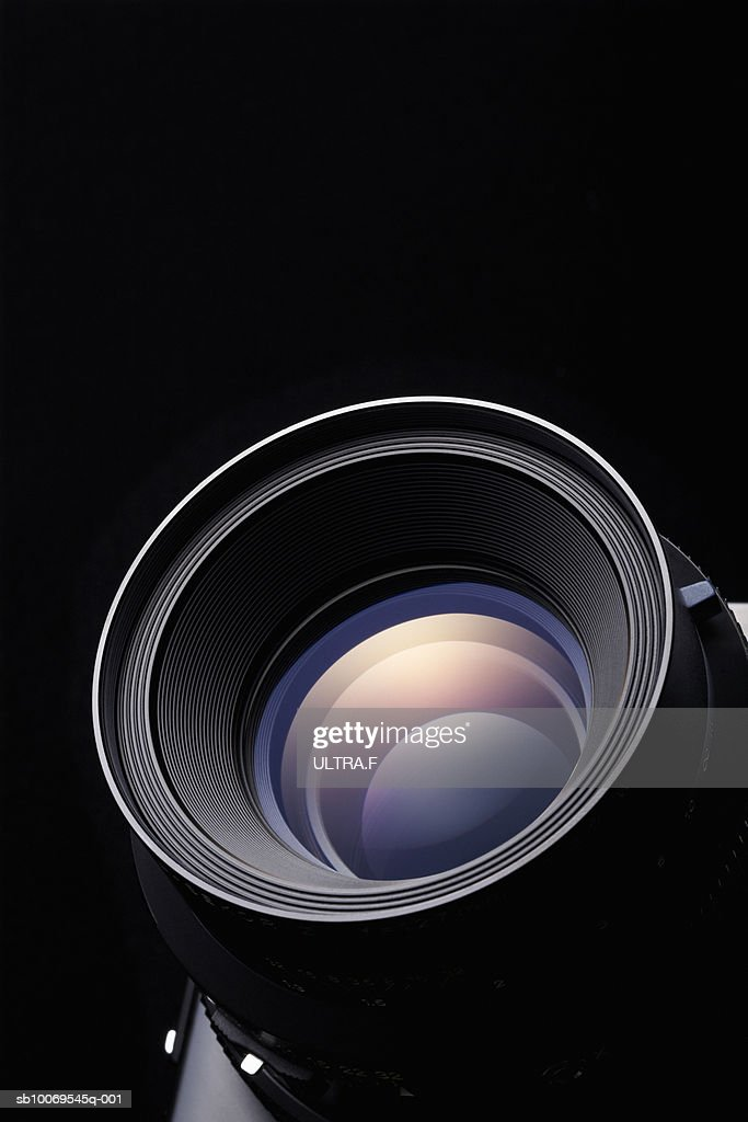 Lens for medium-format camera, close-up : Stock Photo