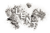 Lent word written in ash, sand, dust as jesus in destert fasting concept, fast and abstinence christian religion background