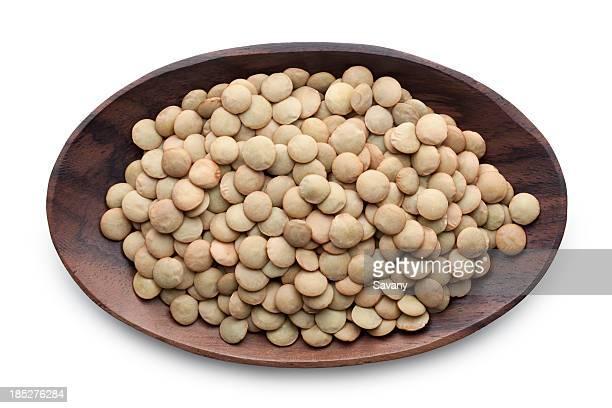 Lentil in a wooden bowl